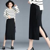 高腰针织半身裙子女韩版秋冬中长款显瘦包臀裙开叉一步裙毛线裙女