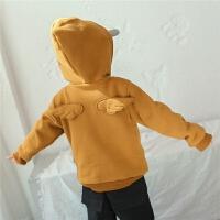 男童卫衣新款韩版2017冬季儿童带帽上衣加厚加绒冬装连帽绒衫套头