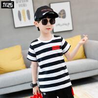 【119元4件:29.8元】左西男童夏装t恤短袖2020新款儿童条纹上衣中大童洋气个性韩版潮