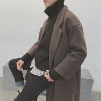 冬装男士加厚毛呢宽松外套青年日系复古bf风夹棉大衣青年男士风衣 咖 S