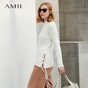 【品牌团 1件7折/2件5折】Amii[极简主义]时尚 绑带毛衣女2017冬季新款纯色半高领套头上衣