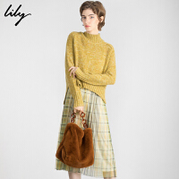 Lily冬新款女装格子宽松百褶裙两件套毛衣长款连衣裙7957