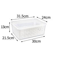 冰箱收纳盒大容量冰箱食物保鲜盒厨房沥水篮塑料洗菜盆果蔬收纳盒 透明