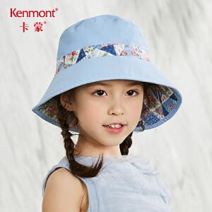 卡蒙6-9岁女童防紫外线大檐帽小女孩太阳帽夏季可折叠防晒遮阳帽 4616