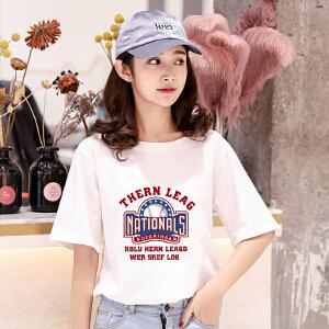 【多色可选】纯棉印花短袖T恤女2018夏装新款短袖t恤宽松白色百搭上衣短袖体恤衫潮
