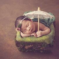 新生儿满月宝宝复古白色公主蕾丝太阳伞儿童摄影道具创意影楼拍照