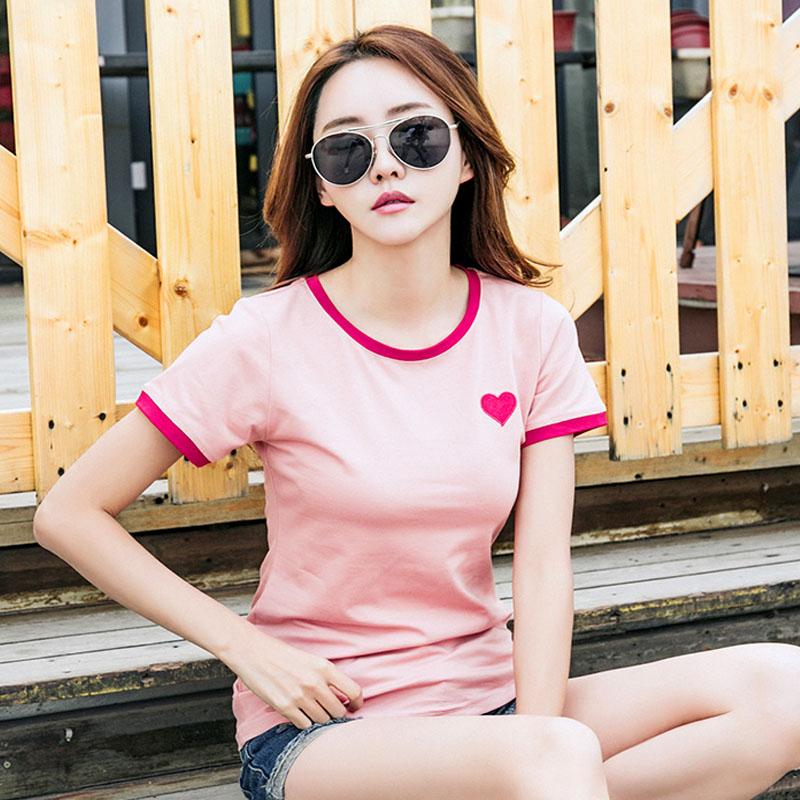 夏装新款女装韩版爱心短袖T恤女简约修身打底衫百搭潮上衣