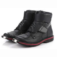 L60431 黑色越野防水公路摩托车赛车靴防臭中帮牛皮鞋