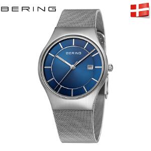 bering白令手表商务进口简约时尚不锈钢日历男款石英腕表防水钢带