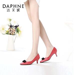 Daphne/达芙妮女鞋春季款时尚舒适潮流尖头细中跟浅口女单鞋