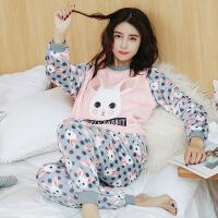 秋冬珊瑚绒睡衣女长袖冬季韩版卡通可爱毛绒加厚法兰绒家居服套装