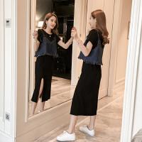 2018夏季新款韩版女装套装裙长裙牛仔外搭时尚吊带两件套连衣裙子