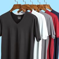 男士短袖T恤冰丝无痕夏季青年运动健身紧身修身弹力V领半袖打底衫