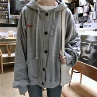 秋冬韩版女装单排扣抽绳连帽加绒卫衣外套女学生宽松显瘦上衣开衫 均码