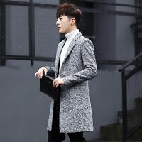 风衣男韩版毛呢大衣男士中长款呢子外套帅气男装冬季加绒加厚冬装