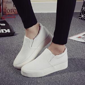 环球 新款厚底帆布鞋女鞋纯色低帮套脚平底鞋休闲乐福鞋