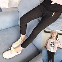 女童黑色弹力休闲裤春季2018新款潮韩版时尚薄款儿童长裤