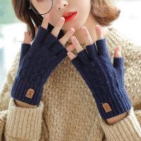 韩版半指手套秋冬季女士毛线保暖可爱学生 百搭露指冬天针织漏五指