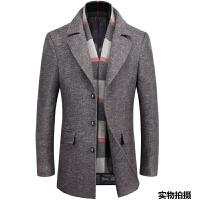 冬季中年男士羊毛呢子大衣中长款商务休闲爸爸装加厚外套 卡其 170