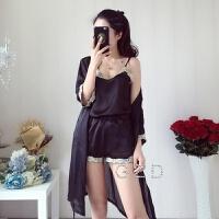 春夏韩版可爱女生性感吊带短裤睡袍三件套睡衣女士仿真丝绸家居服 均码