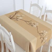 新中式家具配套桌布 棉麻盖布桌布台布茶几布 玉兰图