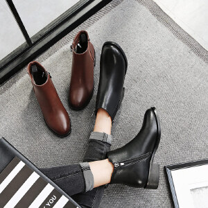毅雅2017秋冬新款方跟短靴女裸靴松紧切尔西靴单靴低跟马丁靴靴子