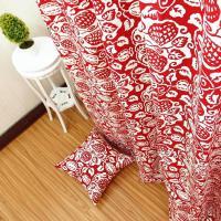 帆布布料沙发套抱枕套布料订做床单布加厚纯棉帆布棉麻窗帘布 藕色 青花瓷红
