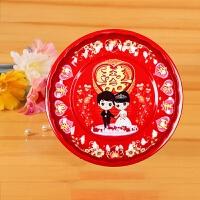 婚礼婚宴喜庆茶盘搪瓷红水果糖果盘敬茶杯喜字托盘婚庆结婚庆用品