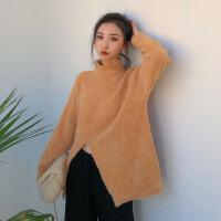 冬装新款韩版复古港味chic开叉貂绒半高领毛衣女中长款宽松针织衫