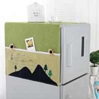 布艺冰箱罩滚筒洗衣机盖巾卡通双开门冰箱盖布韩式田园冰箱尘罩T