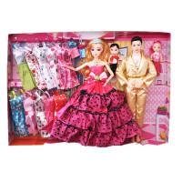 娃娃套装大礼盒女孩婚纱公主儿童玩具过家家生日礼物城堡别墅 西瓜红 6D真眼G款4个娃娃 灯光音乐赠礼包