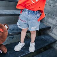 儿童牛仔短裤韩版童装热裤宝宝卡通刺绣休闲裤夏季新款百搭裤子薄
