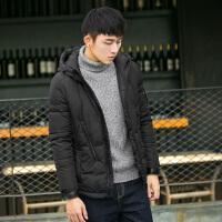 【2件1.5折】唐狮冬装羽绒服男青少年纯色短款修身连帽外套