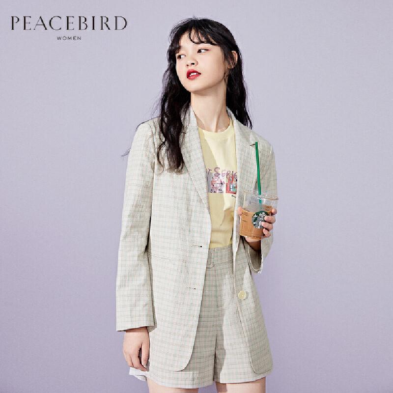 太平鸟格子西装女2020春季新款韩版小香风薄款网红小西服外套女 复古定织格纹 腰部四眼扣