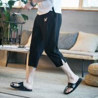 夏季亚麻七分裤男裤子中国风刺绣休闲裤男短裤宽松薄款哈伦裤中裤 S-K87黑色