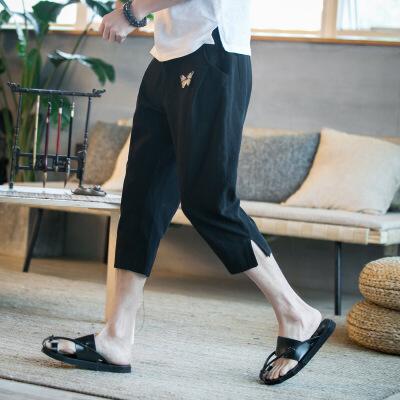 夏季亚麻七分裤男裤子中国风刺绣休闲裤男短裤宽松薄款哈伦裤中裤 S-K87黑色 发货周期:一般在付款后2-90天左右发货,具体发货时间请以与客服协商的时间为准