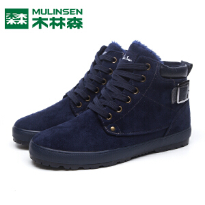 木林森男鞋冬季棉鞋保暖加绒雪地靴黑色休闲学生高帮鞋男士鞋子