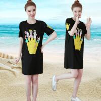 连衣裙夏季韩版女装开叉中长款宽松短袖T恤裙女显瘦半袖连衣裙