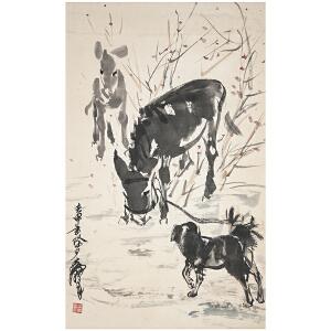 Q1702 黄胄 《犬驴图》(附出版《黄胄画集》P24页)