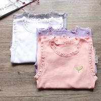 女童纯棉坑条背心2018夏季新款宝宝小树叶刺绣棉质无袖T恤打底衫