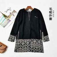 2018春装新款大码女装春秋季修身加厚羊毛呢大衣外套女 A01