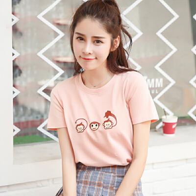 新品韩版宽松百搭棉圆领短袖T恤可爱猴女装上衣小衫潮