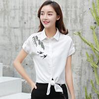 2018夏装新款女宽松大码显瘦衬衣刺绣白色短袖女衬衫上衣百搭T恤