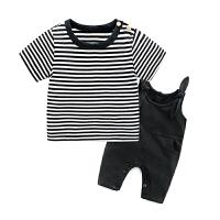 婴儿男童短袖T恤4-7-2个月女宝宝韩版潮款裤子夏装