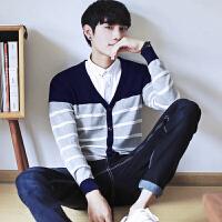 韩版条纹V领青春流行长袖开衫小清新运动生活毛衣秋季时尚针织衫