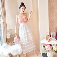 2018夏季时尚韩版新款吊带露肩背花朵上衣+层层长裙套装女潮 粉红色
