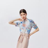 【2件3折 折后价:122】LILY女装浪漫气质立领压褶边设计透视印花雪纺衫