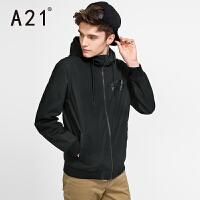 以纯A21连帽风衣外套男秋冬新款男士风衣纯棉青年男装冬季学生修身潮