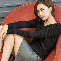 竖条V领羊绒衫女套头短款显瘦纯色紧身毛衣长袖打底针织衫秋冬款