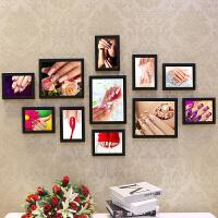 美甲店木相片墙画框美容院创意纹绣照片墙装饰挂墙相框组合 黑色 美甲图片